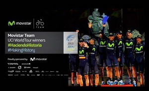 Movistar Team celebra su triunfo en el UCI World Tour