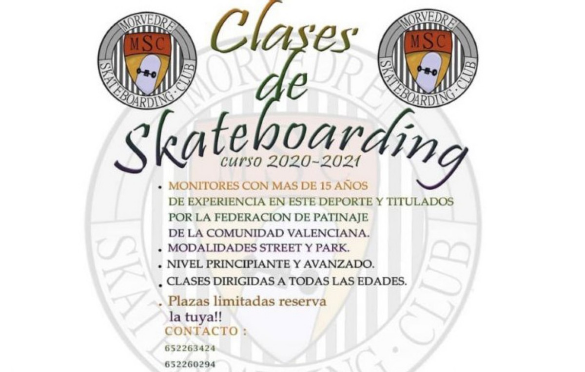 Clases Morvedre skateboarding en Canet d´en Berenquer