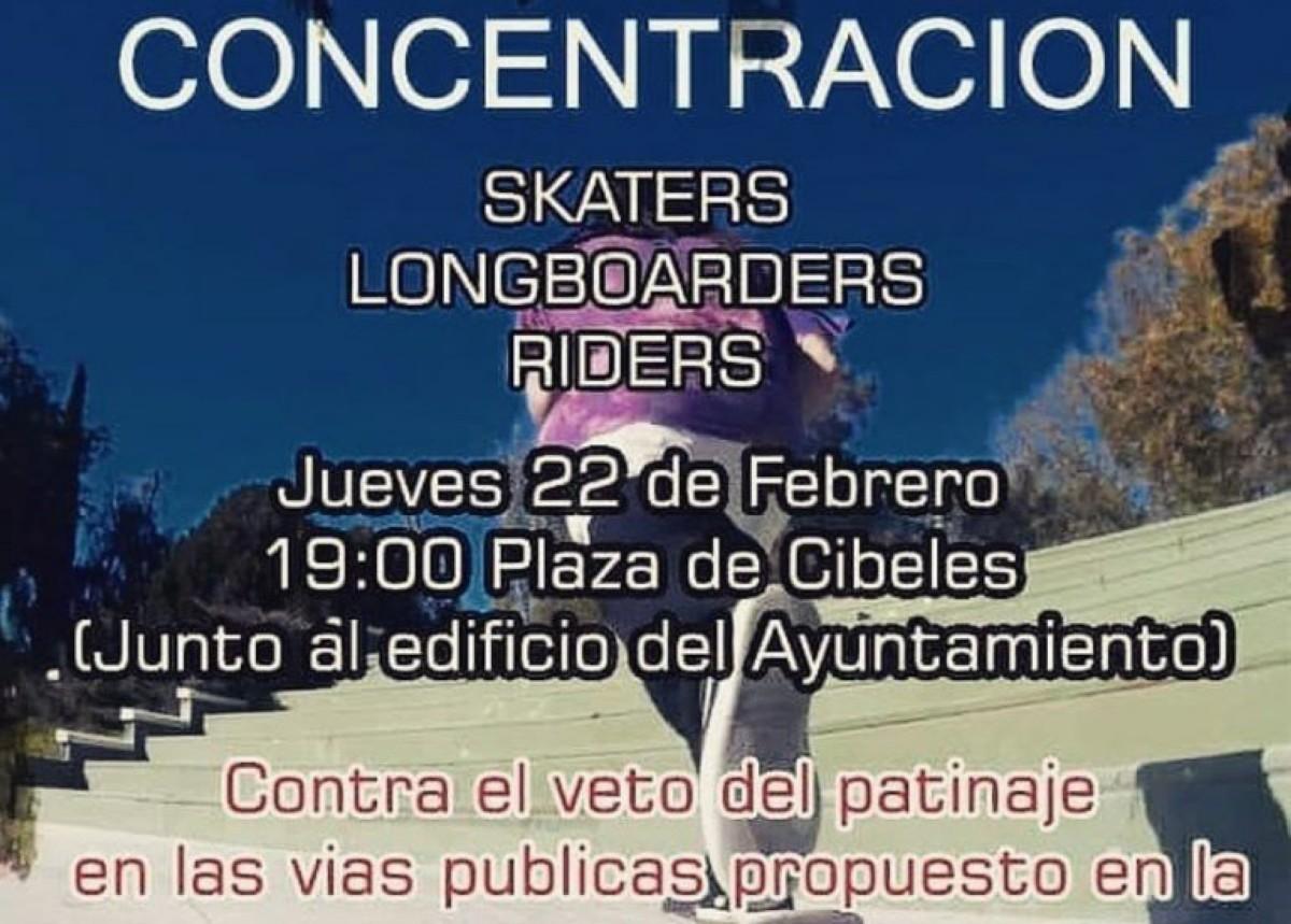 Concentración de los riders de skate, longboard en Madrid