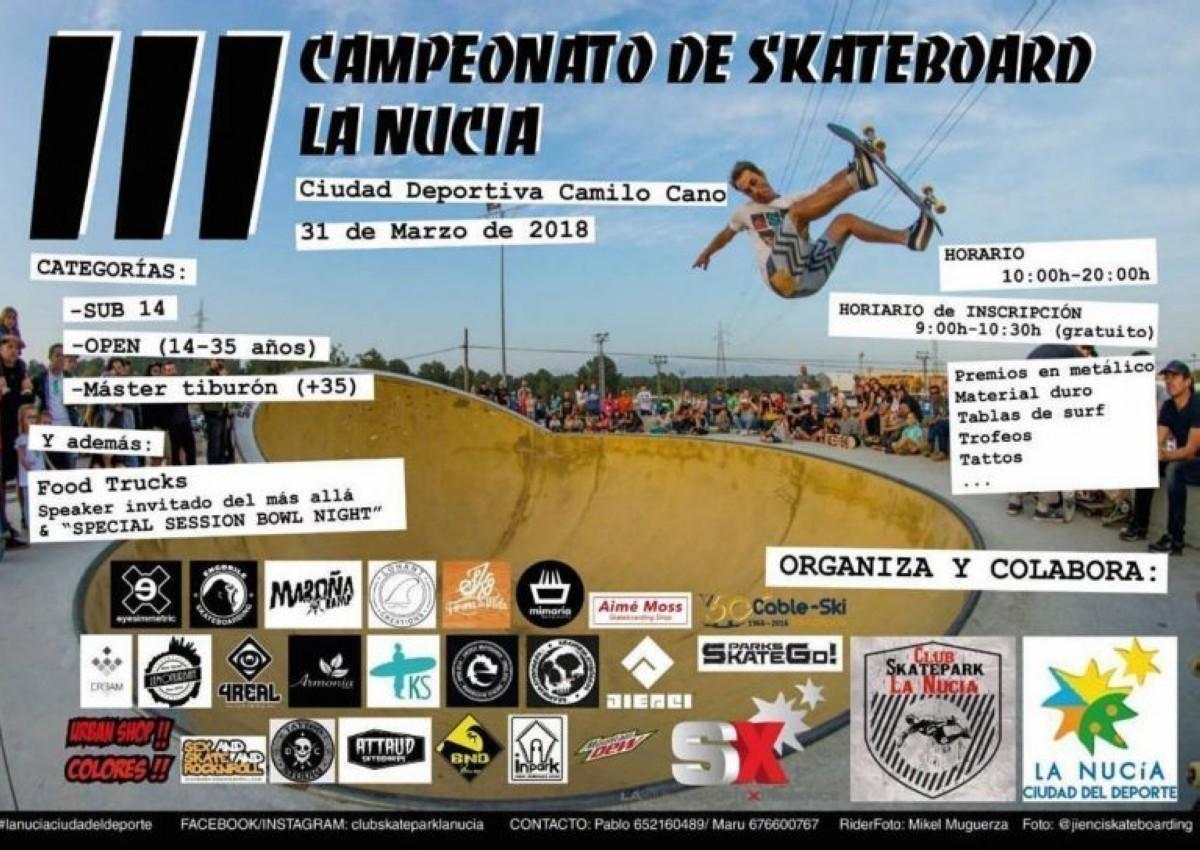 El III Campeonato de skateboarding de LA NUCIA