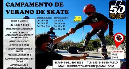 Camp de verano organizado por 50 Project skatepark