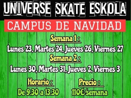 Camps para Navidad de Universe INdoor Skatepark