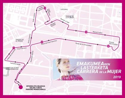 Recorrido de la XII Carrera de la Mujer de Vitoria-Gasteiz 2019.