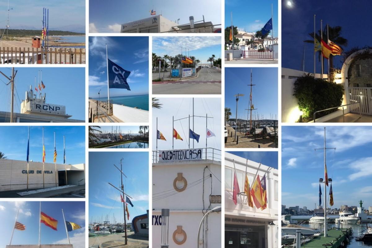 Banderas a media asta en todos los clubes náuticos de Baleares