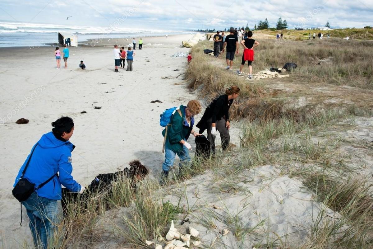 La limpieza de una de las playas de Nueva Zelanda