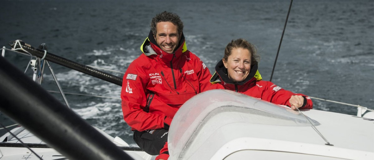 Samantha Davies y Tanguy de Lamotte, proa a Barcelona