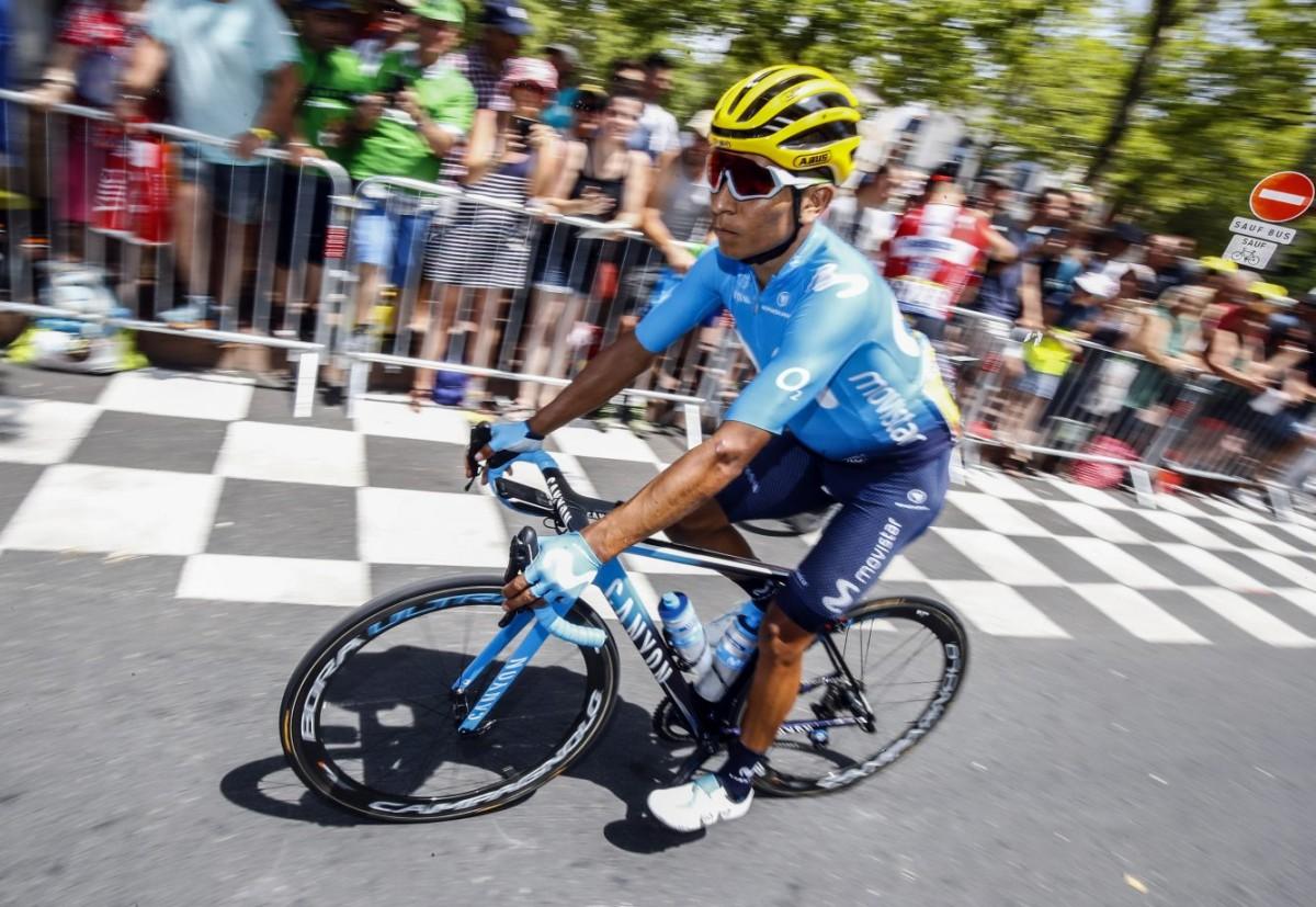 Caída y susto para Nairo Quintana antes de los Pirineos
