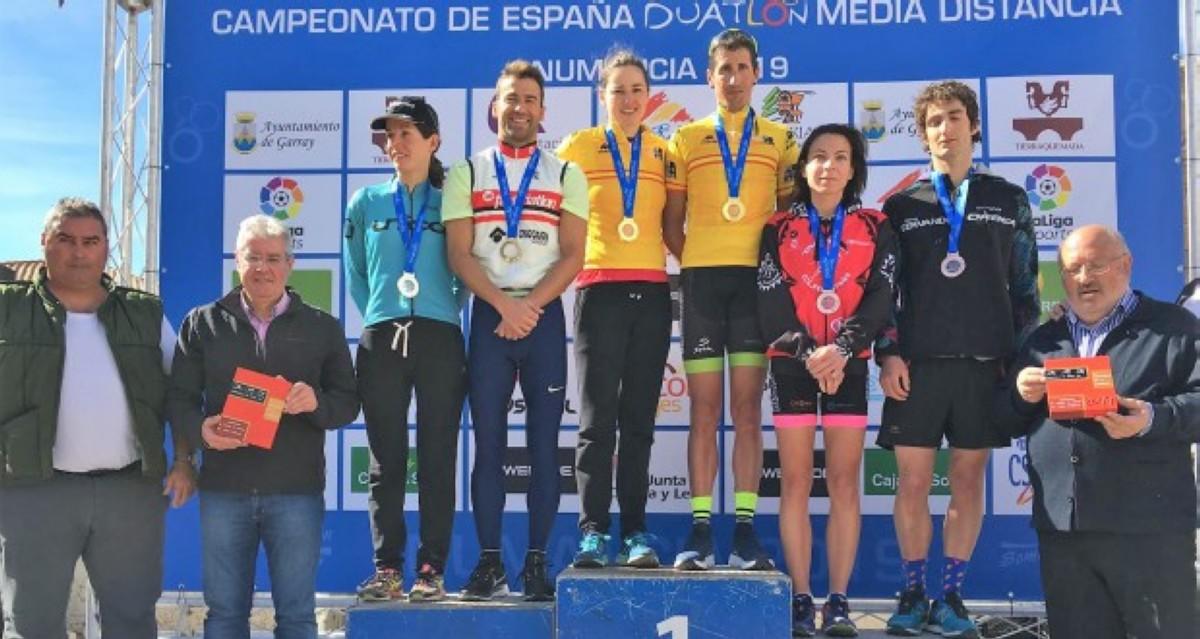 Helene Alberdi y Gustavo Rodríguez, campeones de España de Duatlón MD en Numancia