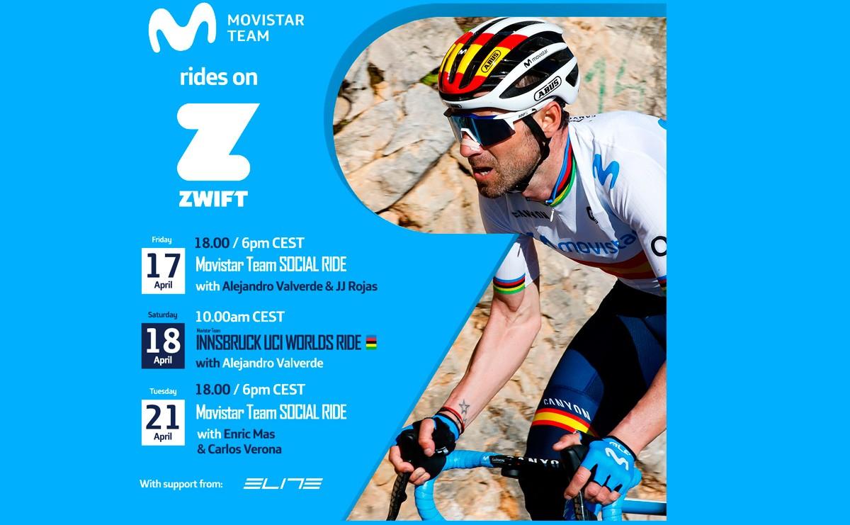 Mas, Verona, Rojas y Valverde  en los retos Zwift de Movistar Team
