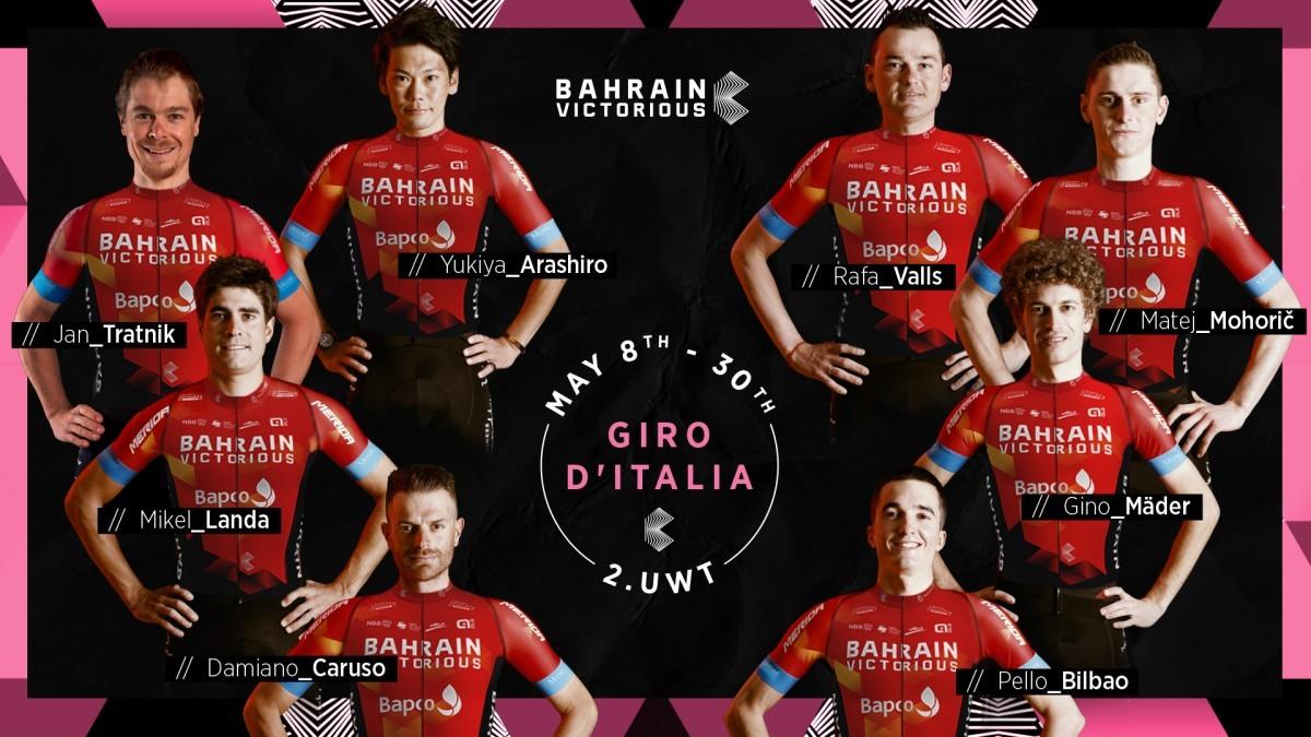 Mikel Landa a la cabeza del Team Bahrein en el Giro de Italia