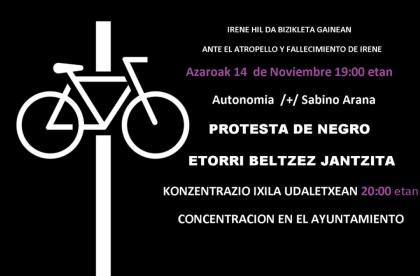 Convocada una concentración de protesta tras el fallecimiento de una ciclista en Bilbao