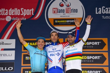 Primer podio para Valverde como campeón del mundo