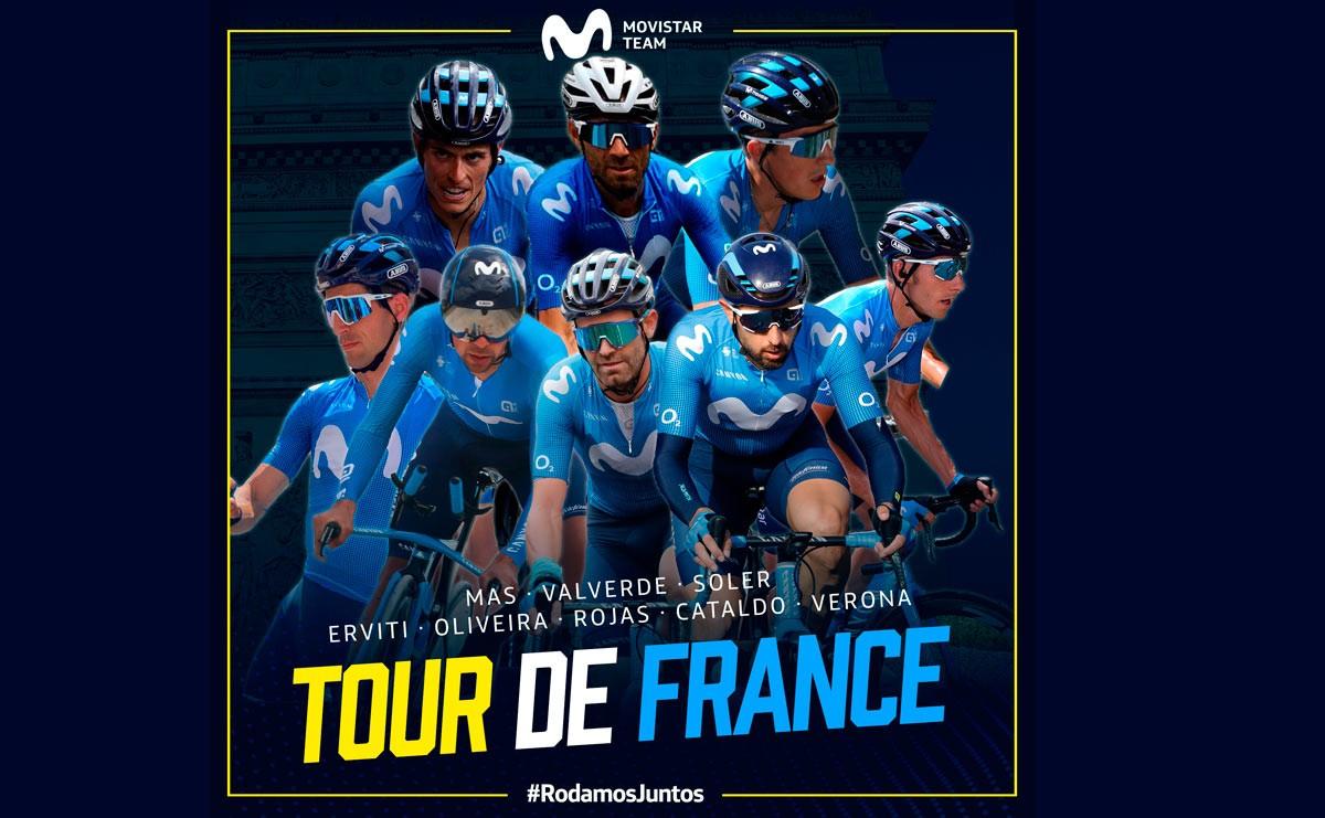 Valverde, Más y Soler en el ocho de Movistar Team para el Tour de Francia 2020